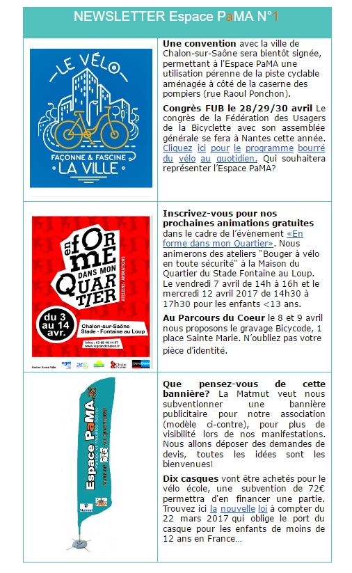 NEWSLETTER Espace PaMA N°1
